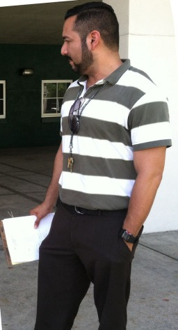 New LRHS dean Michael Escorcia helps monitor the school's courtyard.
