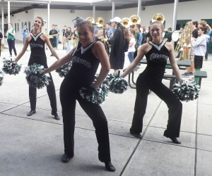 Member of the LRHS Silver Stars dance team entertain a lunchtime pep rally audience.