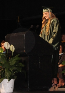 Mustang graduate Rebecca Deibert delivers her graduation speech