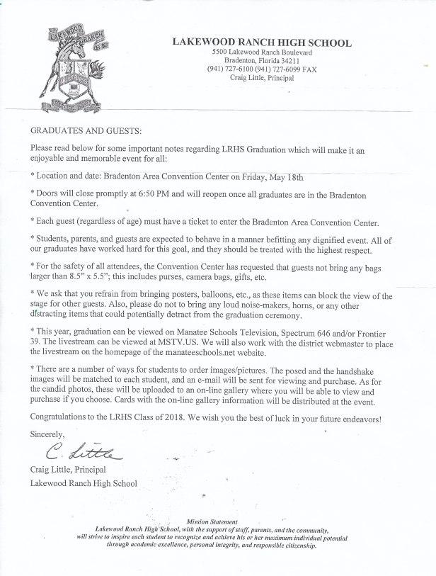 2018 graduation etiquette letter