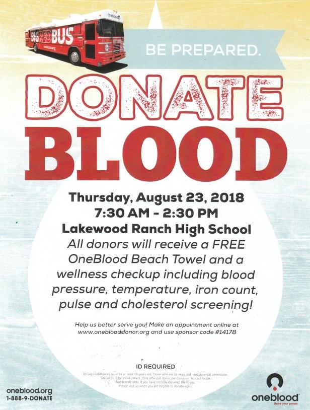 Aug 23 blood drive