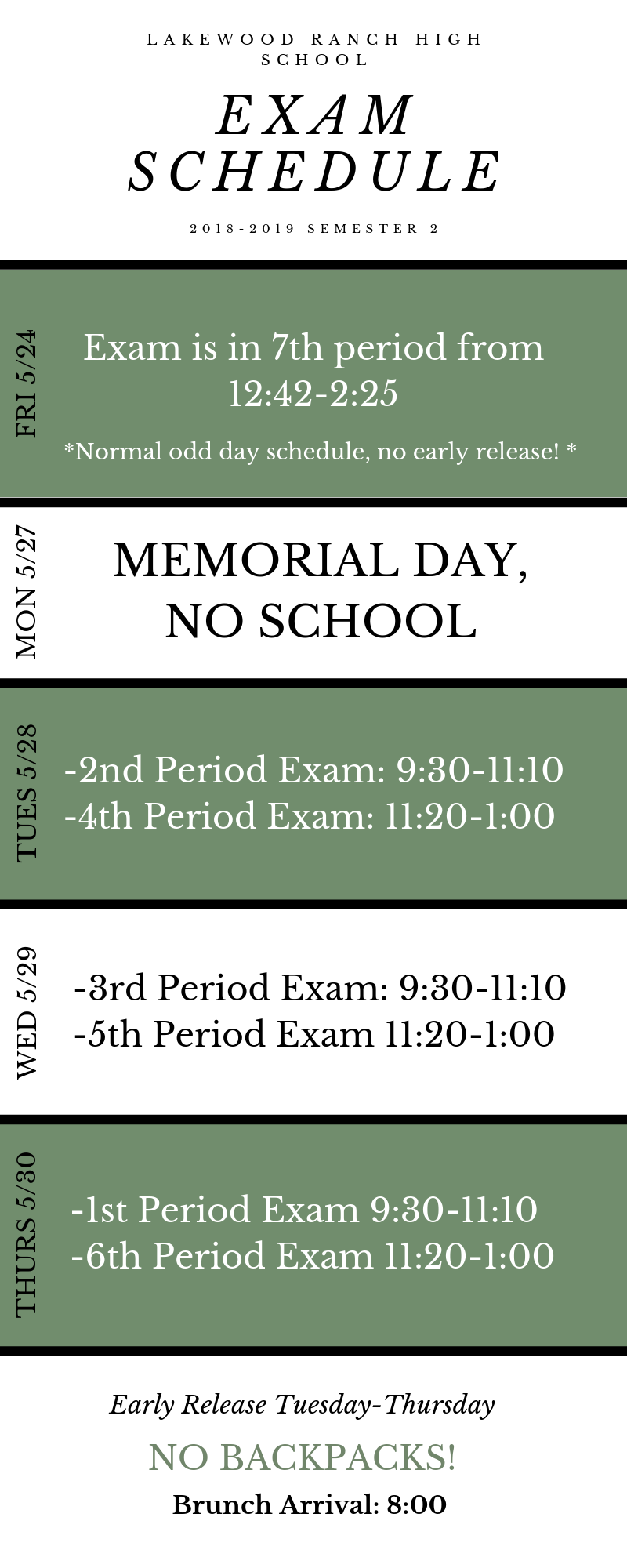 exam schedule infographic 2019