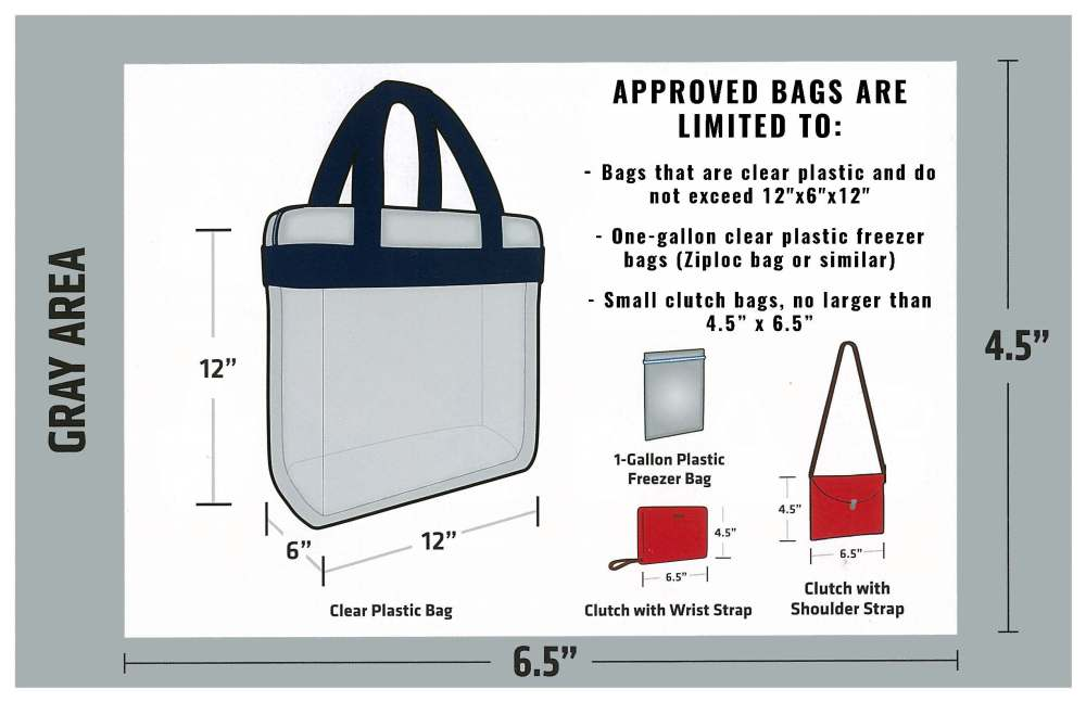 A description of the acceptable clear bags allowed in SDMC sporting events.