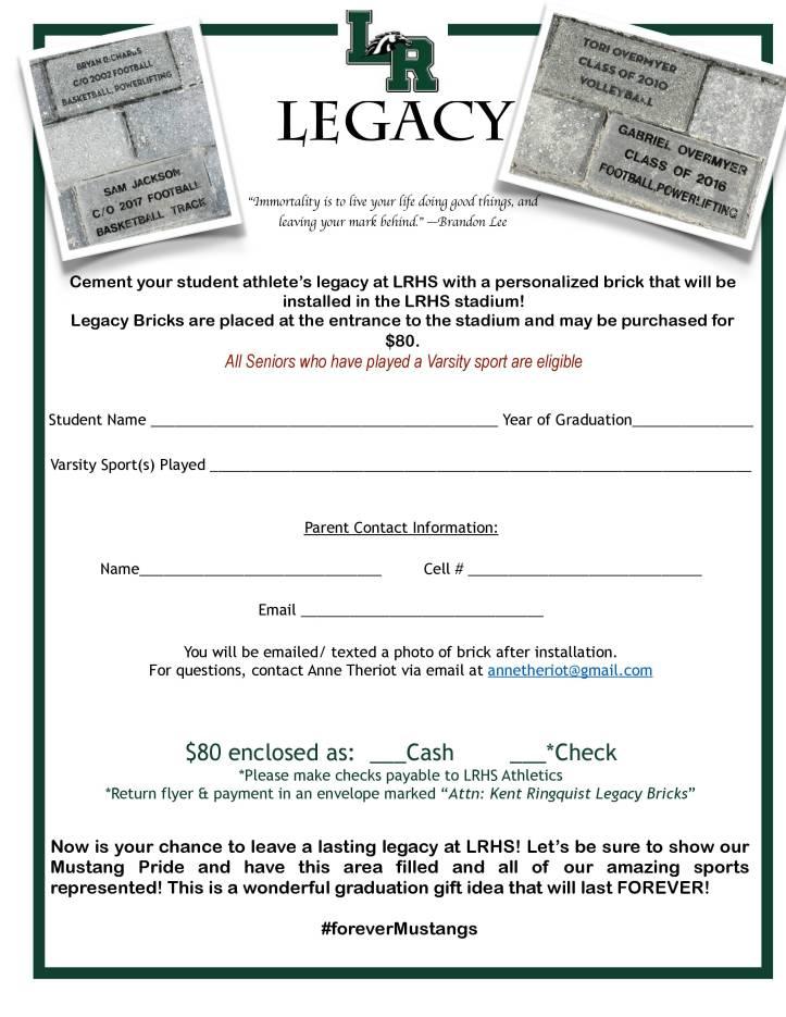 Newest Legacy Brick Flyer 2019