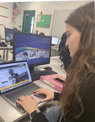 senior at computer