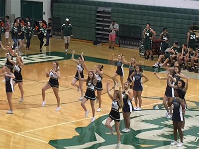 cheerleaders at pep rally 2019