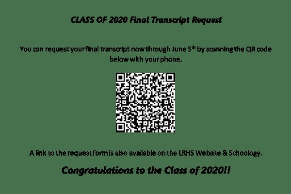 senior transcript request qr code